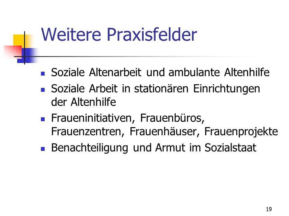 Weitere Praxisfelder Soziale Altenarbeit und ambulante Altenhilfe