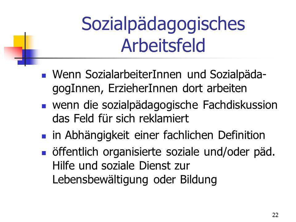 Sozialpädagogisches Arbeitsfeld