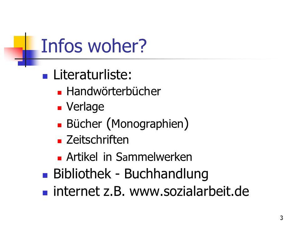 Infos woher Literaturliste: Bibliothek - Buchhandlung