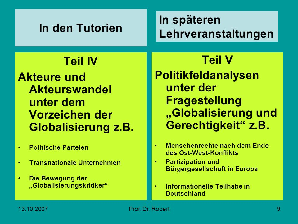 In den Tutorien Teil IV Teil V