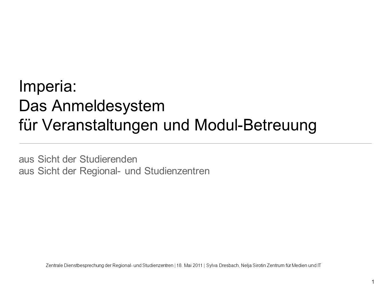 Imperia: Das Anmeldesystem für Veranstaltungen und Modul-Betreuung