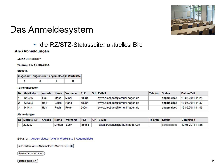 Das Anmeldesystem die RZ/STZ-Statusseite: aktuelles Bild