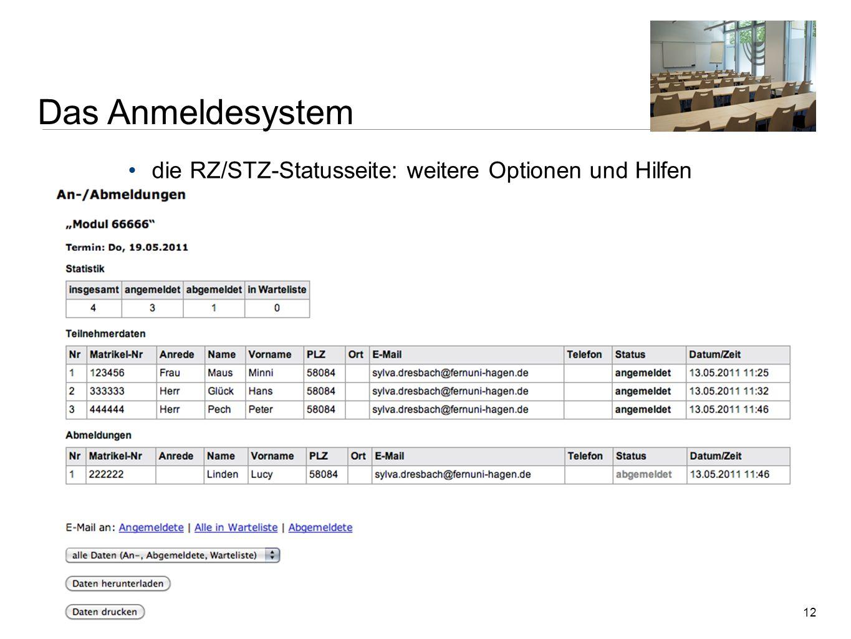 Das Anmeldesystem die RZ/STZ-Statusseite: weitere Optionen und Hilfen