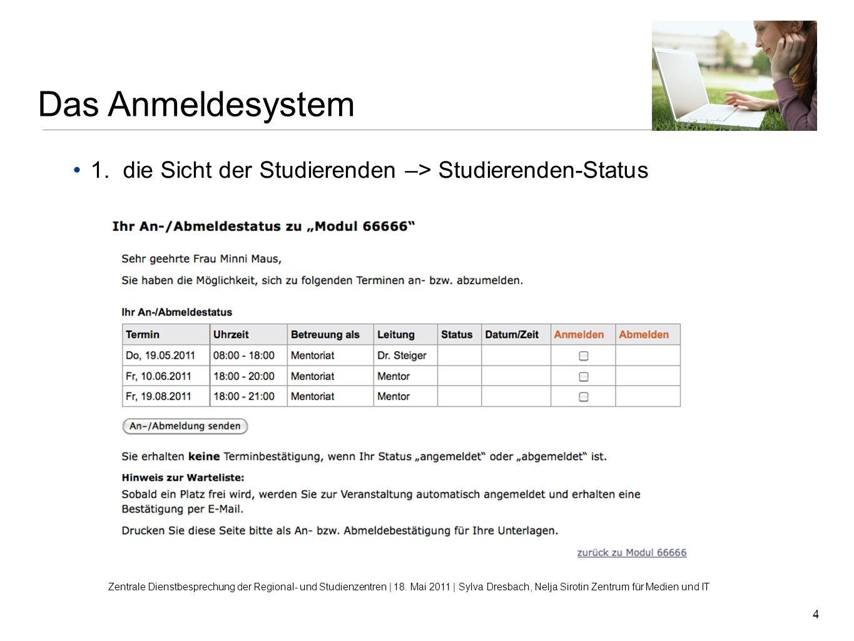 Das Anmeldesystem 1. die Sicht der Studierenden –> Studierenden-Status.
