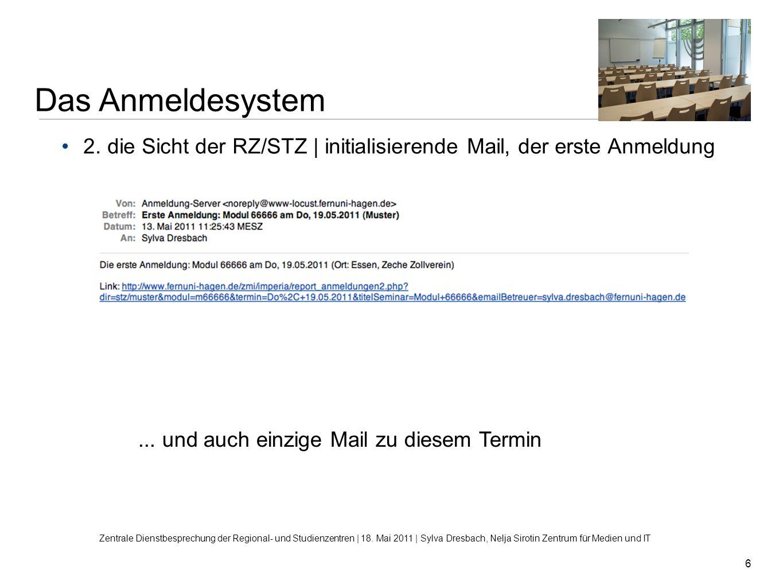 Das Anmeldesystem 2. die Sicht der RZ/STZ | initialisierende Mail, der erste Anmeldung. ... und auch einzige Mail zu diesem Termin.