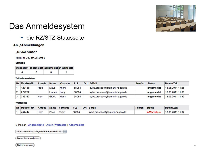 Das Anmeldesystem die RZ/STZ-Statusseite