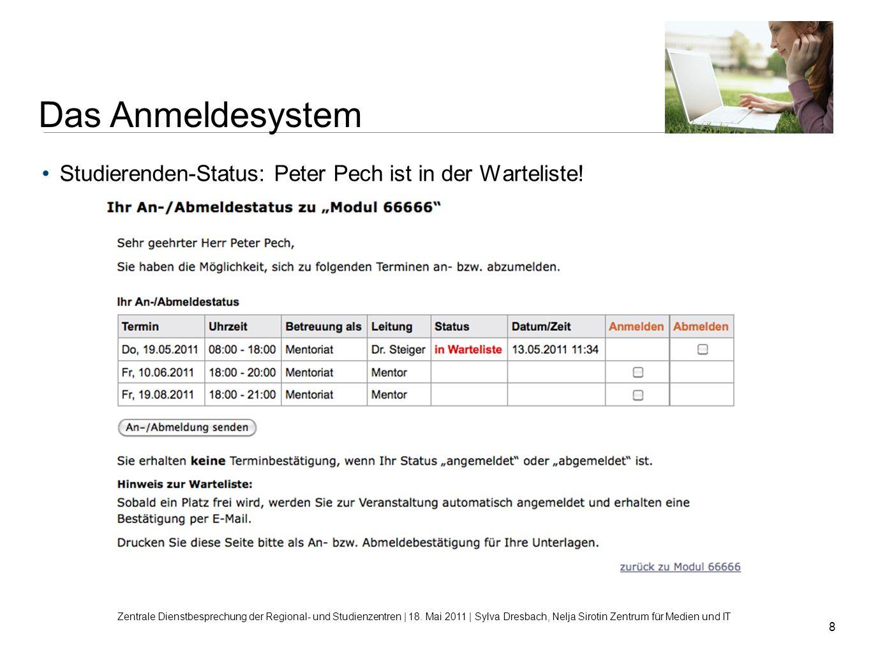 Das Anmeldesystem Studierenden-Status: Peter Pech ist in der Warteliste!