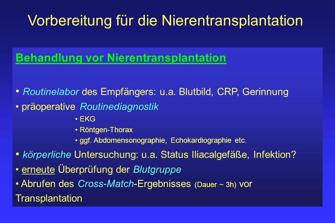 Vorbereitung für die Nierentransplantation