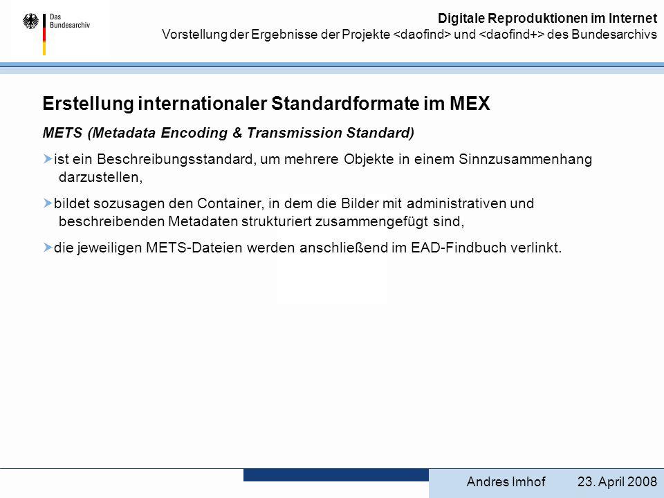 Erstellung internationaler Standardformate im MEX