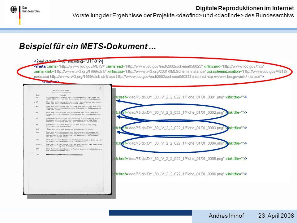 Beispiel für ein METS-Dokument ...