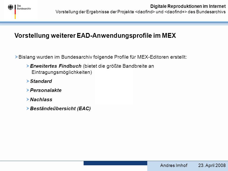 Vorstellung weiterer EAD-Anwendungsprofile im MEX