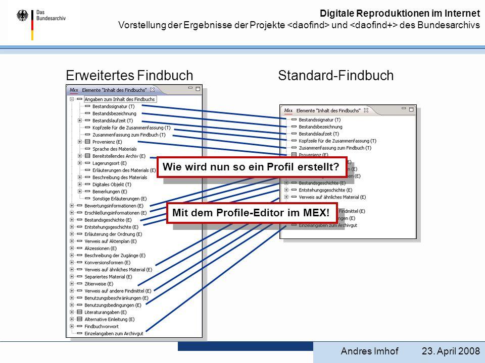 Erweitertes Findbuch Standard-Findbuch