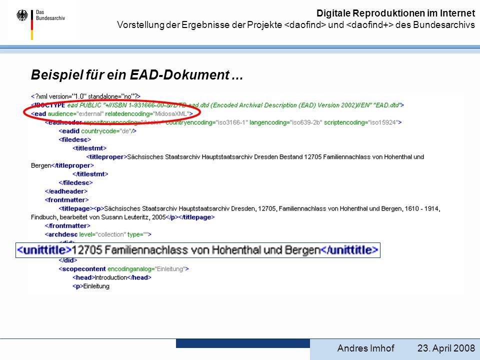 Beispiel für ein EAD-Dokument ...