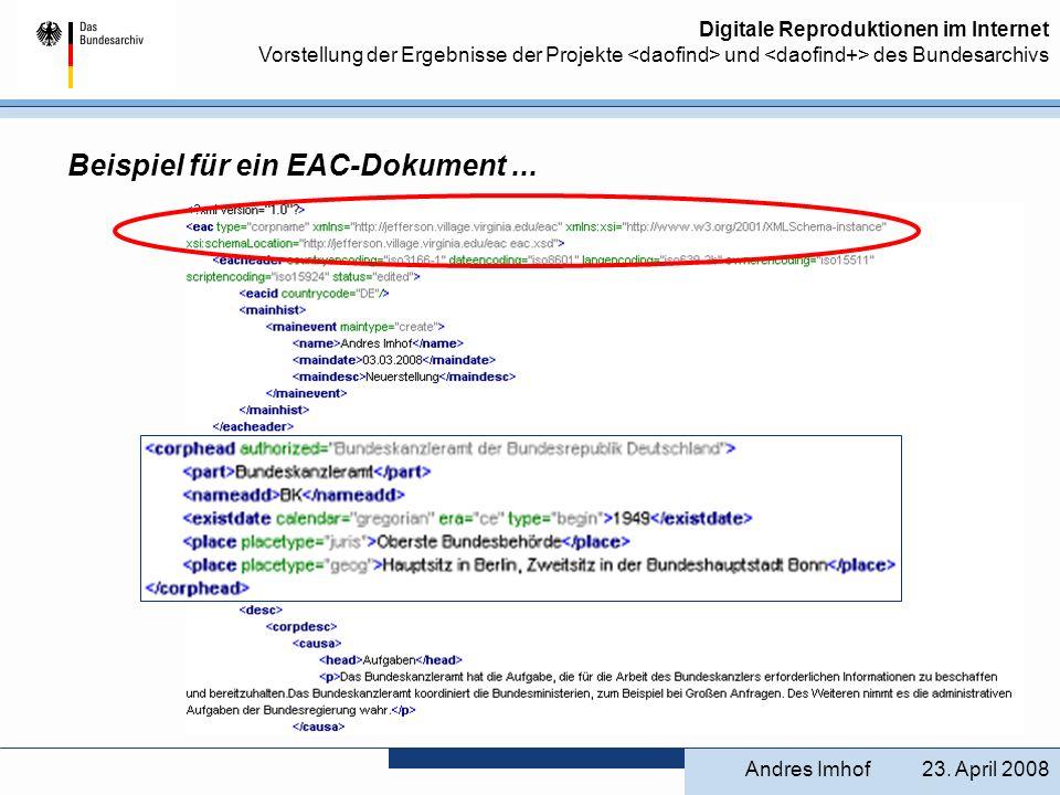 Beispiel für ein EAC-Dokument ...