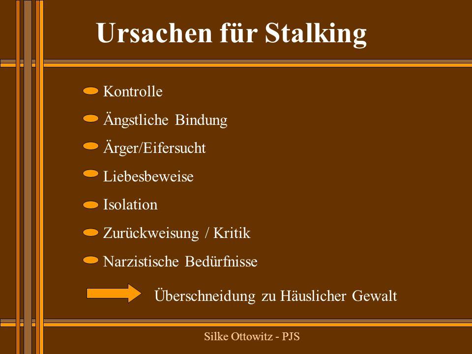 Ursachen für Stalking Kontrolle Ängstliche Bindung Ärger/Eifersucht