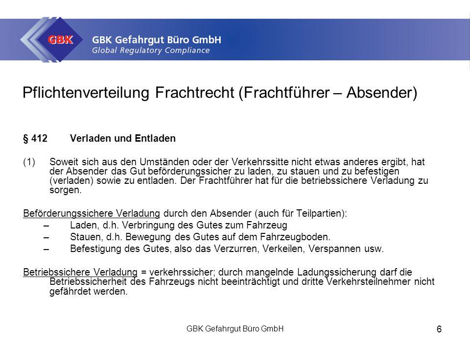 Pflichtenverteilung Frachtrecht (Frachtführer – Absender)