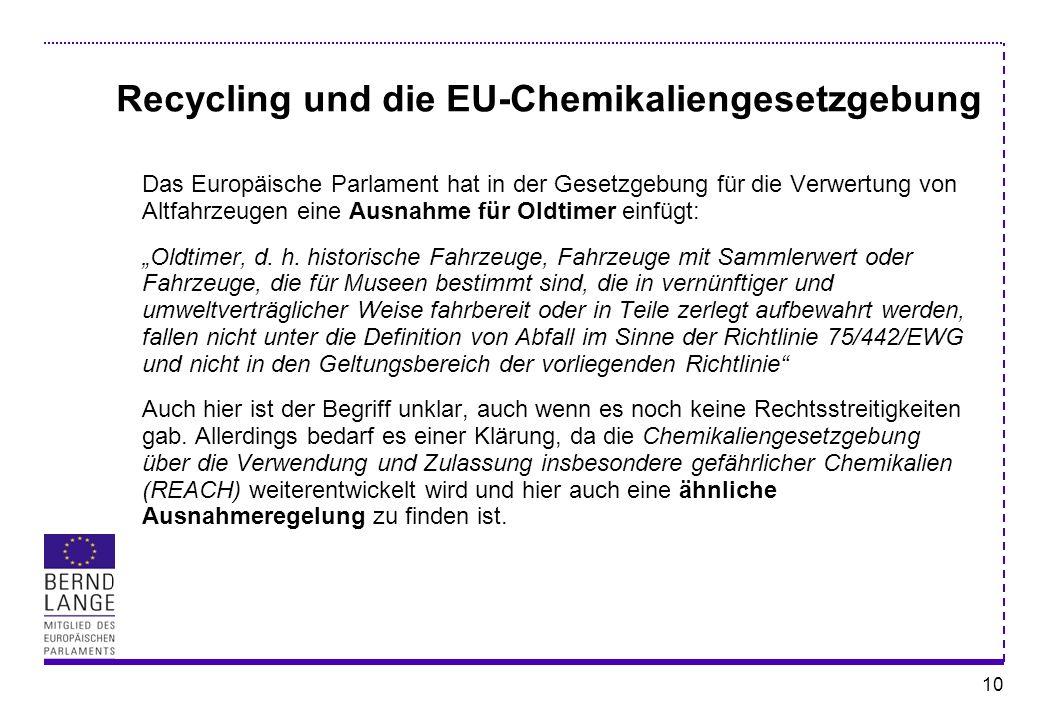 Recycling und die EU-Chemikaliengesetzgebung