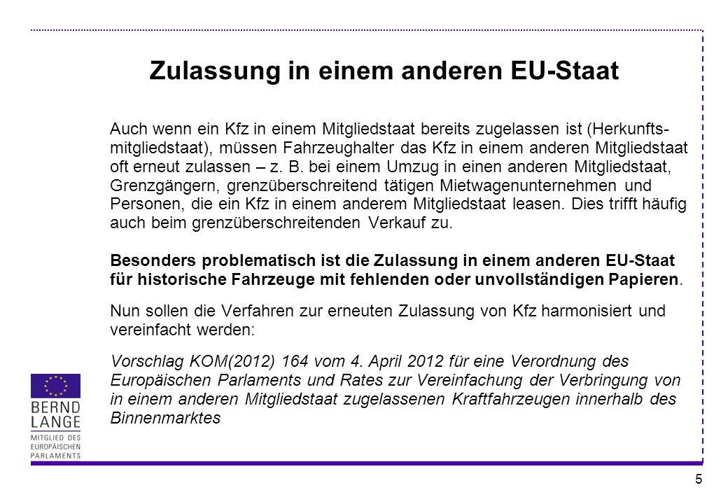 Zulassung in einem anderen EU-Staat