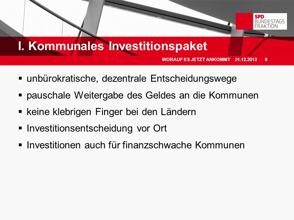 I. Kommunales Investitionspaket