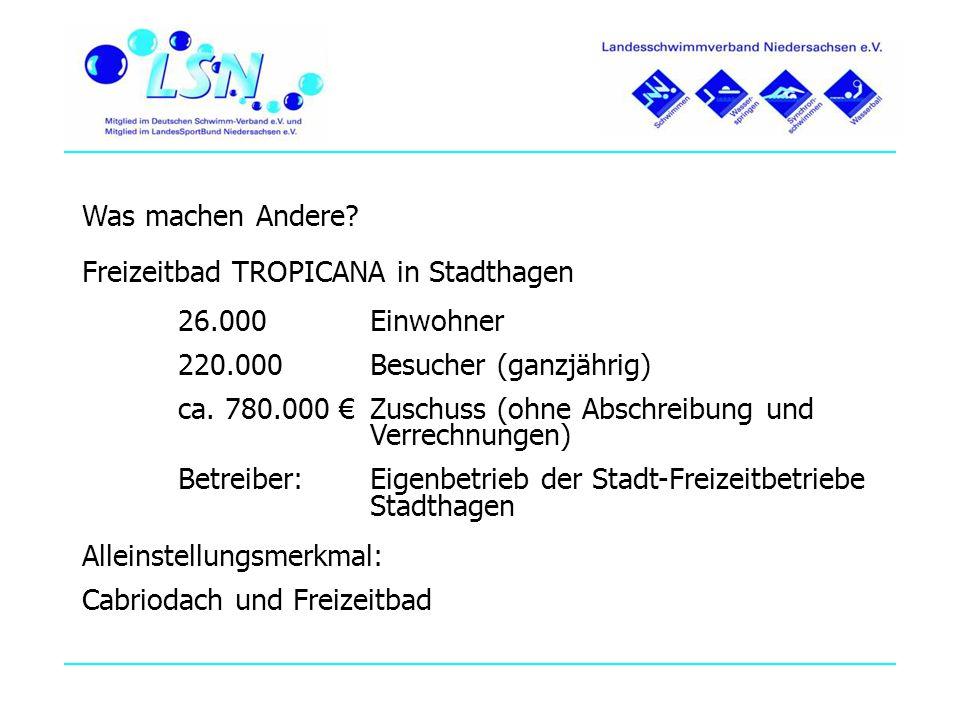 Was machen Andere Freizeitbad TROPICANA in Stadthagen. 26.000 Einwohner. 220.000 Besucher (ganzjährig)