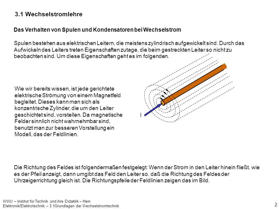 3.1 Wechselstromlehre Das Verhalten von Spulen und Kondensatoren bei Wechselstrom.