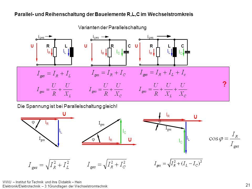 Parallel- und Reihenschaltung der Bauelemente R,L,C im Wechselstromkreis