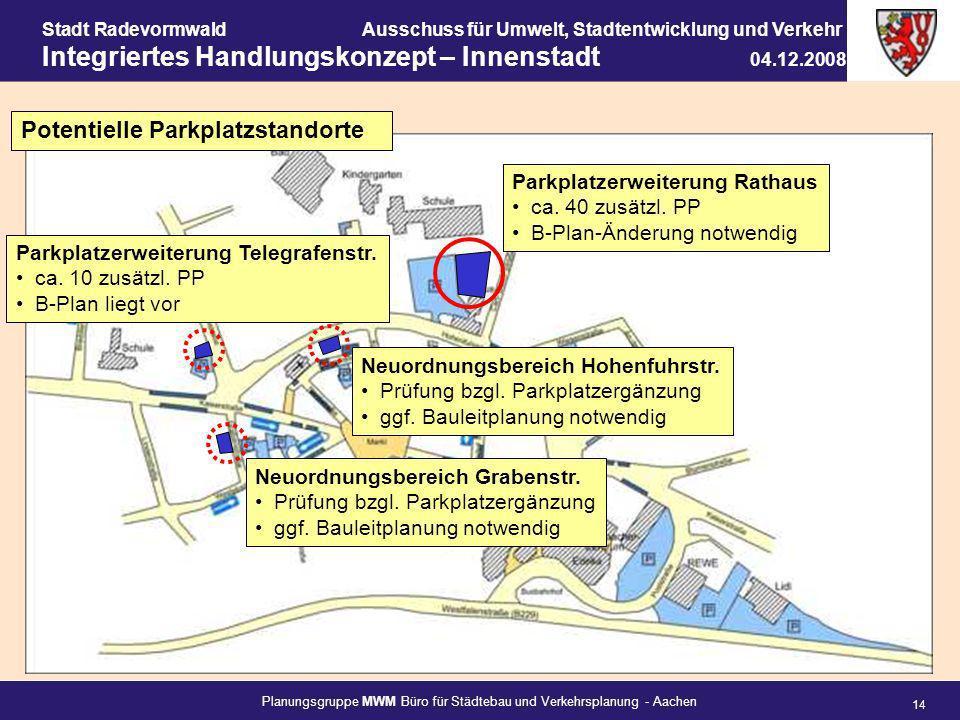 Potentielle Parkplatzstandorte