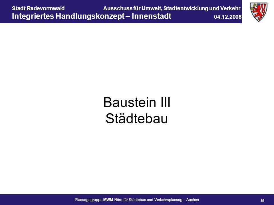 Baustein III Städtebau
