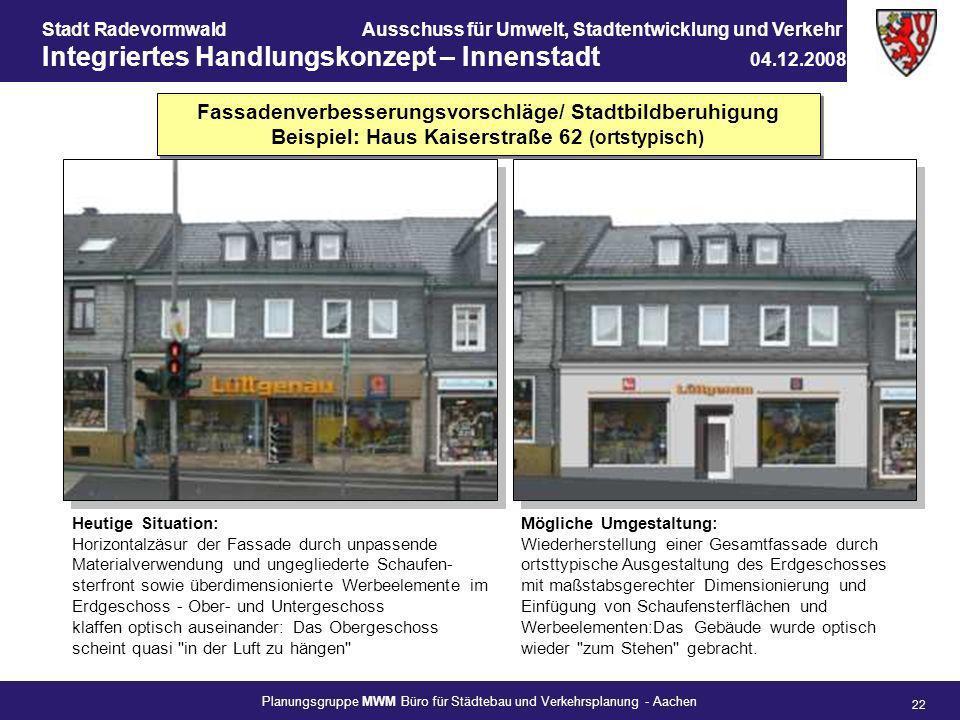 Fassadenverbesserungsvorschläge/ Stadtbildberuhigung Beispiel: Haus Kaiserstraße 62 (ortstypisch)
