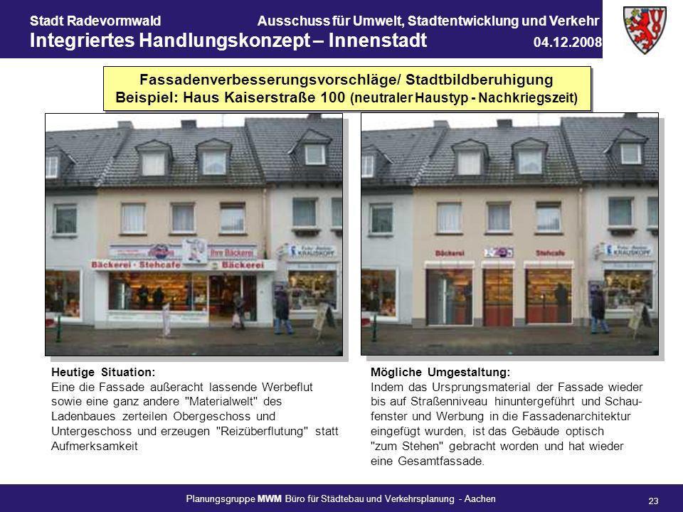Fassadenverbesserungsvorschläge/ Stadtbildberuhigung Beispiel: Haus Kaiserstraße 100 (neutraler Haustyp - Nachkriegszeit)