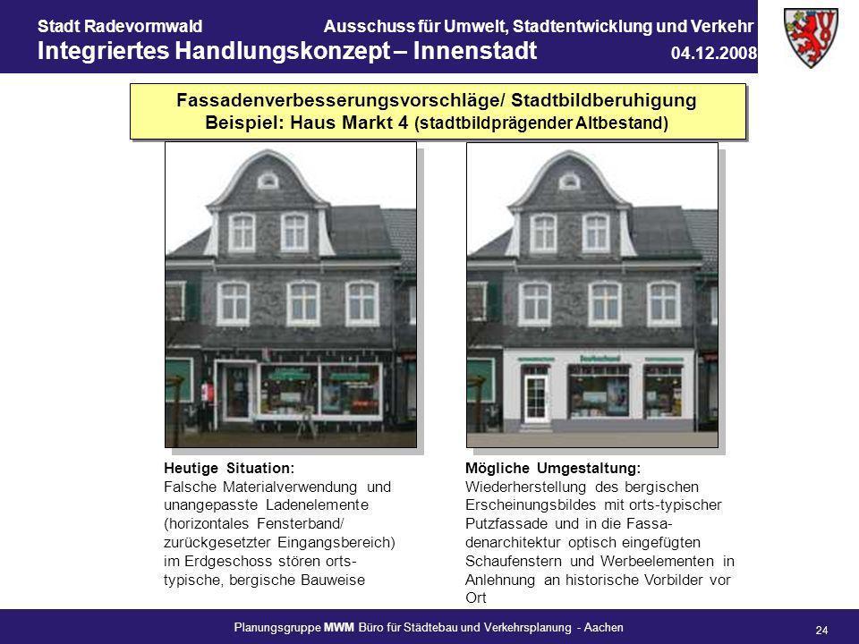 Fassadenverbesserungsvorschläge/ Stadtbildberuhigung Beispiel: Haus Markt 4 (stadtbildprägender Altbestand)