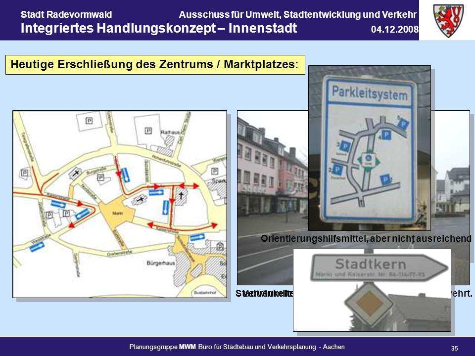 Heutige Erschließung des Zentrums / Marktplatzes: