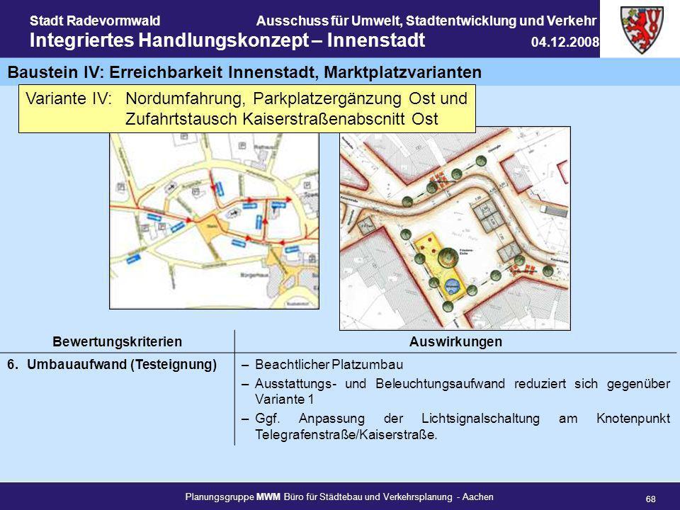 Baustein IV: Erreichbarkeit Innenstadt, Marktplatzvarianten