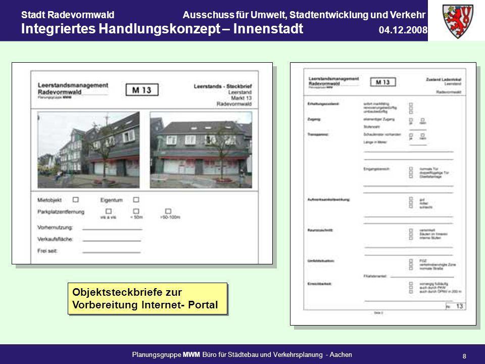 Objektsteckbriefe zur Vorbereitung Internet- Portal