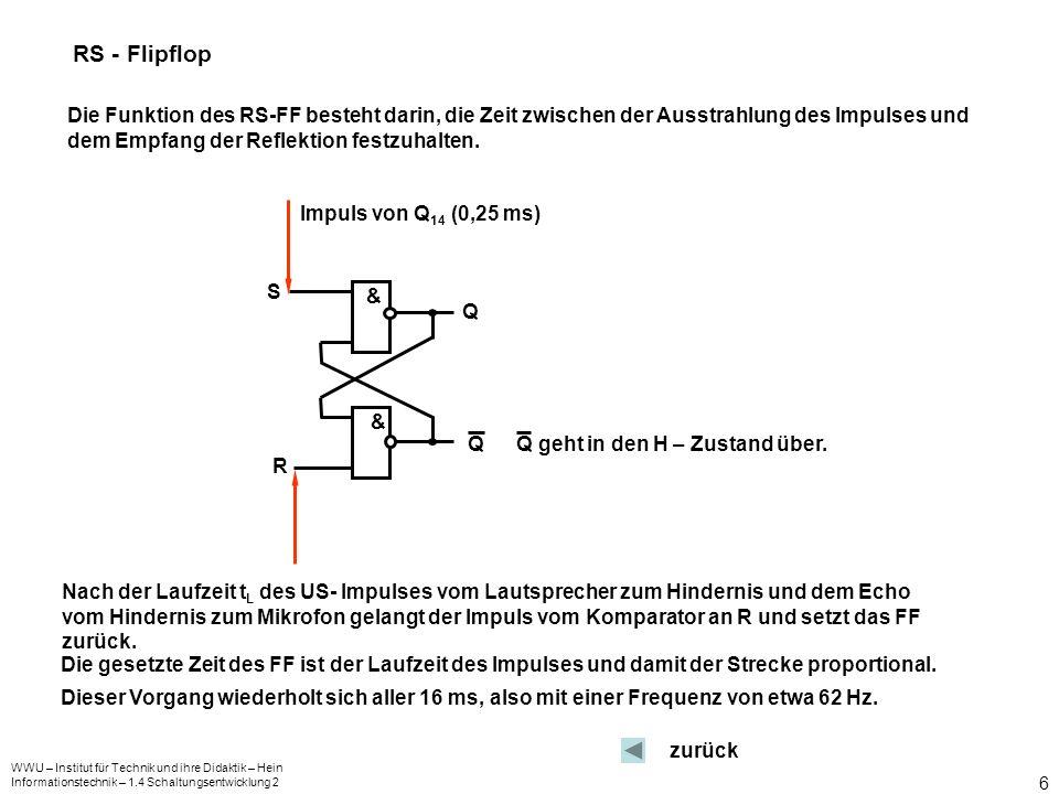 RS - Flipflop Die Funktion des RS-FF besteht darin, die Zeit zwischen der Ausstrahlung des Impulses und dem Empfang der Reflektion festzuhalten.
