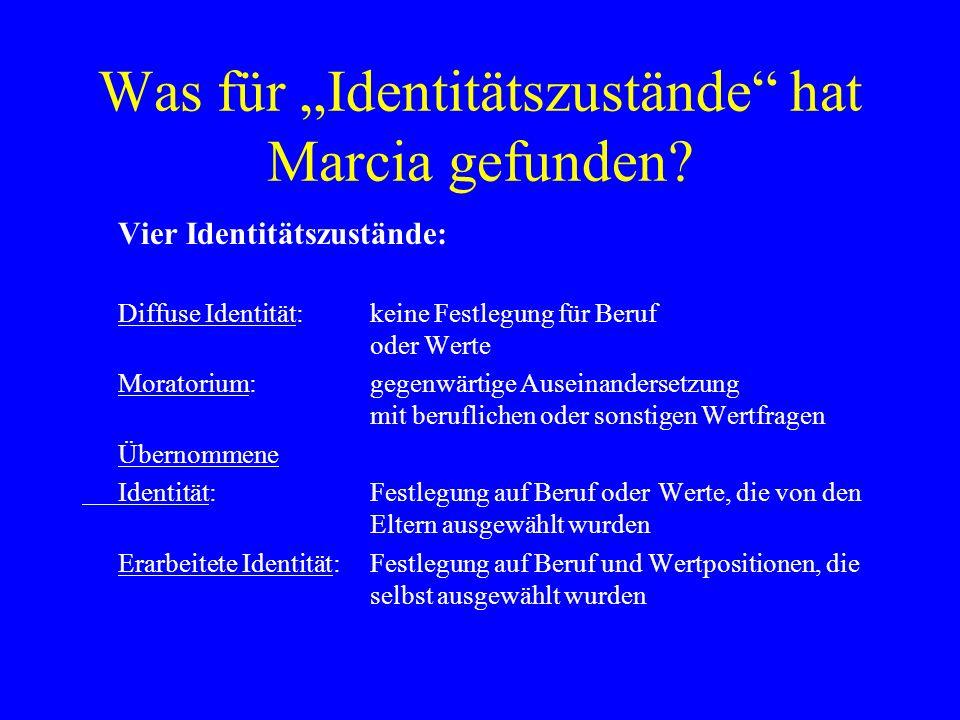 """Was für """"Identitätszustände hat Marcia gefunden"""