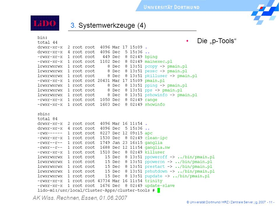 """3. Systemwerkzeuge (4) Die """"p-Tools"""