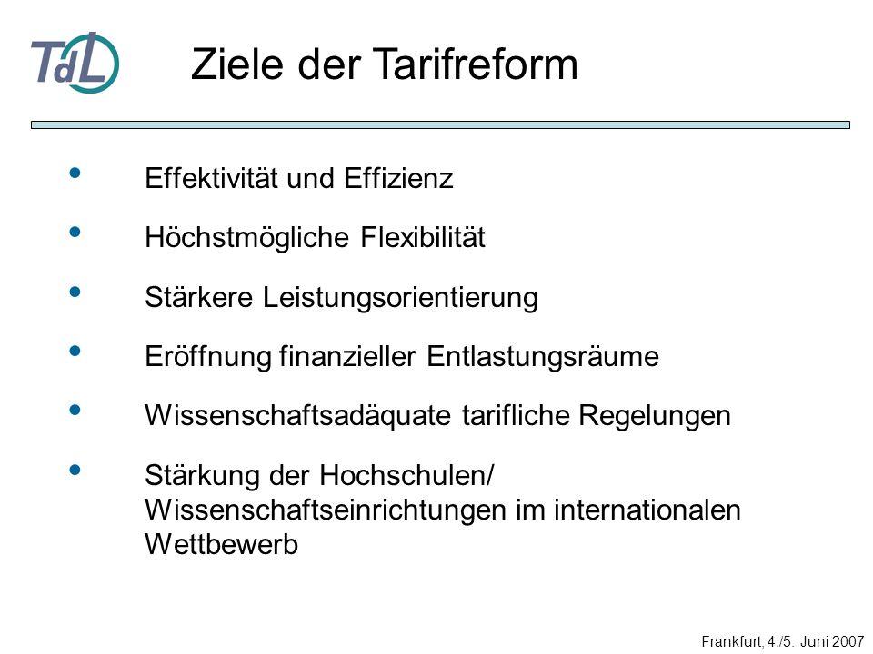 Ziele der Tarifreform Effektivität und Effizienz