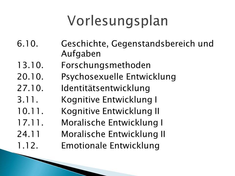 Vorlesungsplan 6.10. Geschichte, Gegenstandsbereich und Aufgaben
