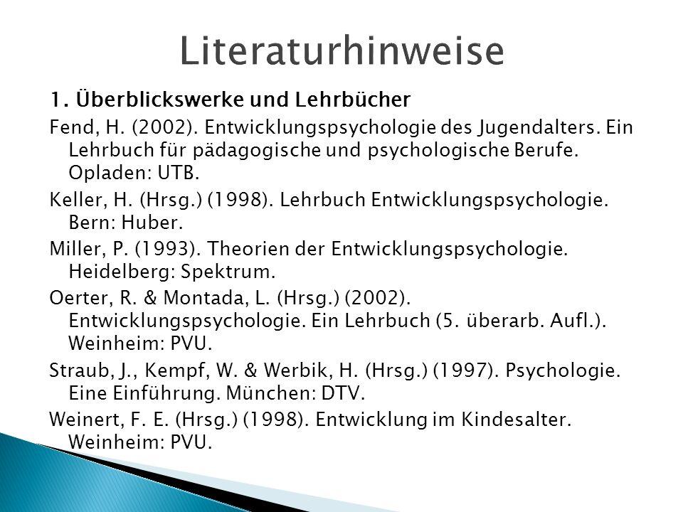 Literaturhinweise 1. Überblickswerke und Lehrbücher