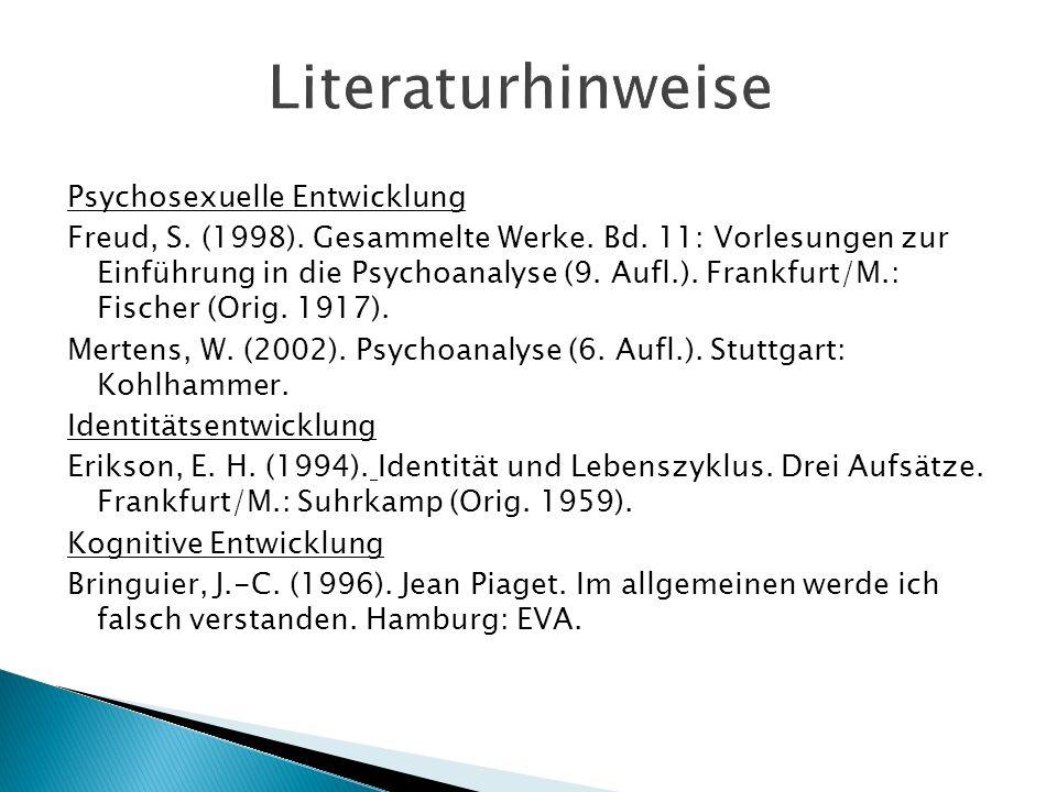 Literaturhinweise Psychosexuelle Entwicklung