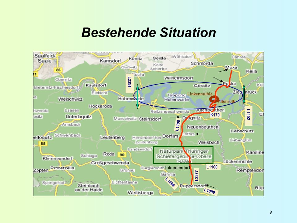 Bestehende Situation L2384 Linkenmühle Altenroth L1102 K170 L1100