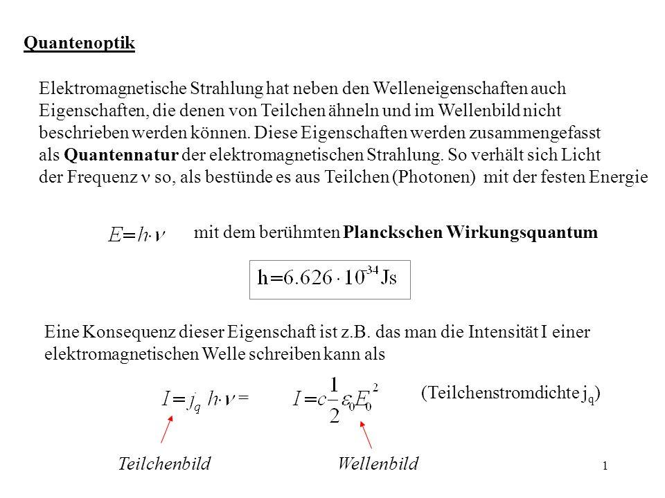 QuantenoptikElektromagnetische Strahlung hat neben den Welleneigenschaften auch.