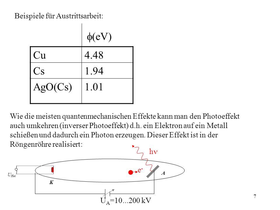 f(eV) Cu 4.48 Cs 1.94 AgO(Cs) 1.01 Beispiele für Austrittsarbeit: