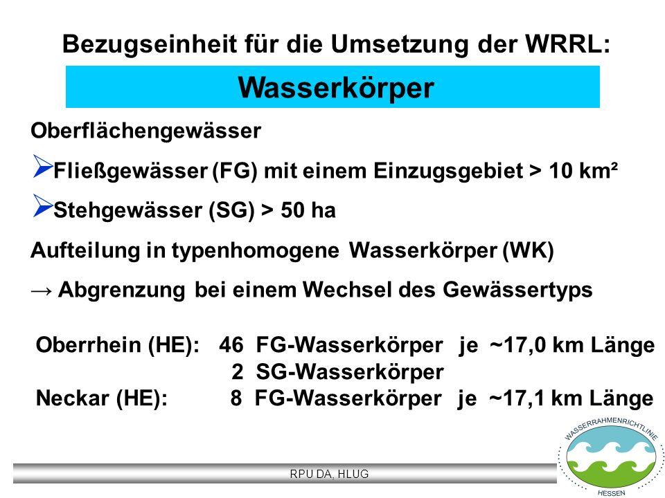 Bezugseinheit für die Umsetzung der WRRL: