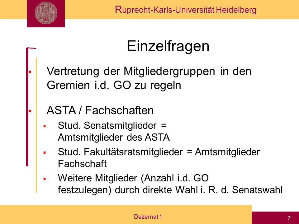 LHG Einzelfragen. Vertretung der Mitgliedergruppen in den Gremien i.d. GO zu regeln. ASTA / Fachschaften.