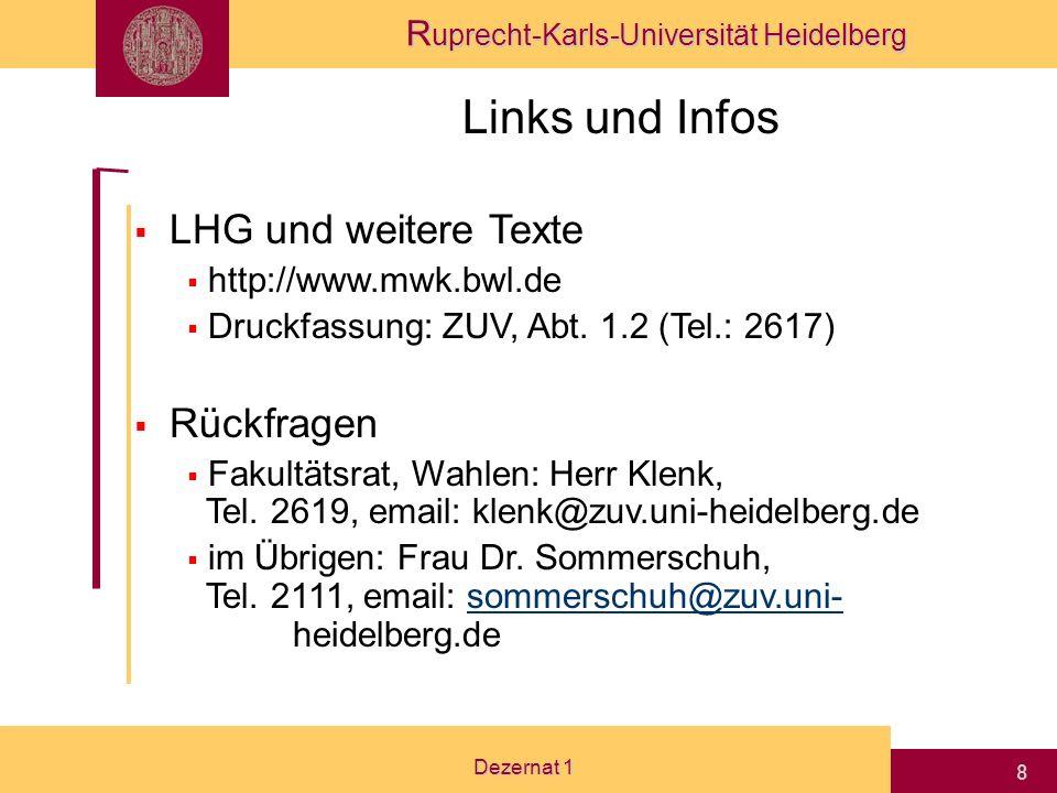 Links und Infos LHG und weitere Texte Rückfragen http://www.mwk.bwl.de