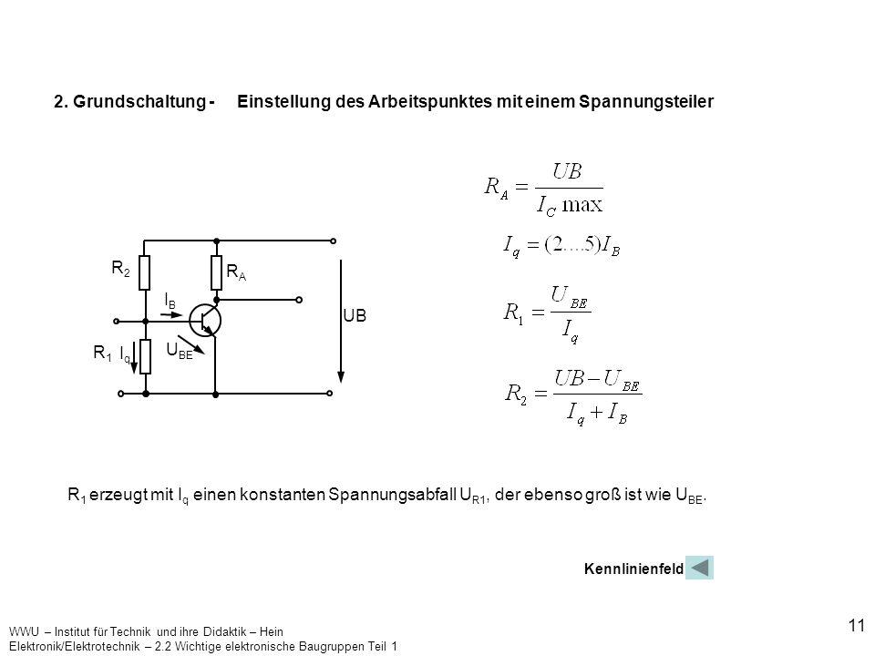 2. Grundschaltung - Einstellung des Arbeitspunktes mit einem Spannungsteiler