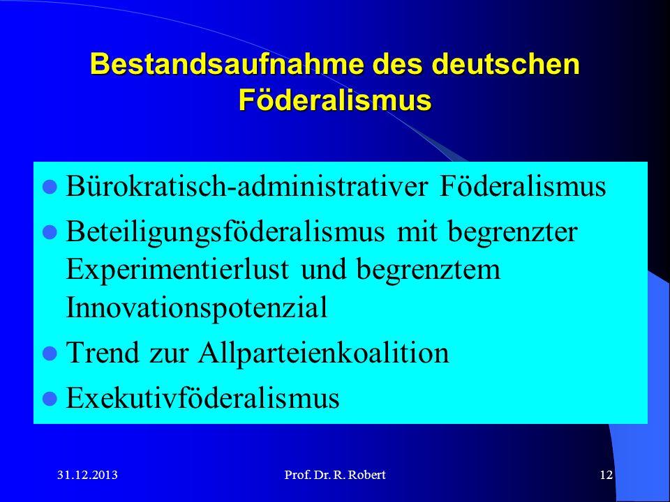 Bestandsaufnahme des deutschen Föderalismus