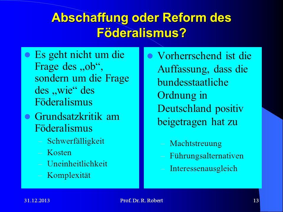 Abschaffung oder Reform des Föderalismus